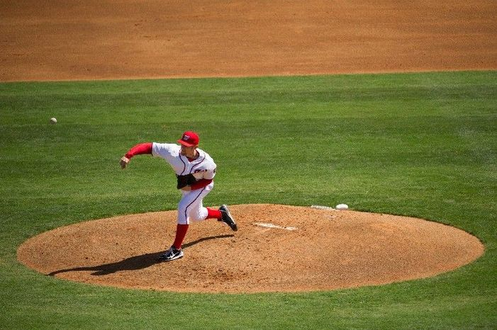 Washington Nationals starting pitcher Stephen Strasburg (37) pitches against the Houston Astros during a spring training game at Space Coast Stadium in Viera, Fla., on Sunday, March 4, 2012. The Nationals lost to the Astros 10-2. (Andrew Harnik/The Washington Times)