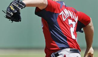 Washington Nationals starter Jordan Zimmermann delivers against the Boston Red Sox during the first inning of a spring training baseball game in Fort Myers, Fla., Monday, April 2, 2012. (AP Photo/Charles Krupa)