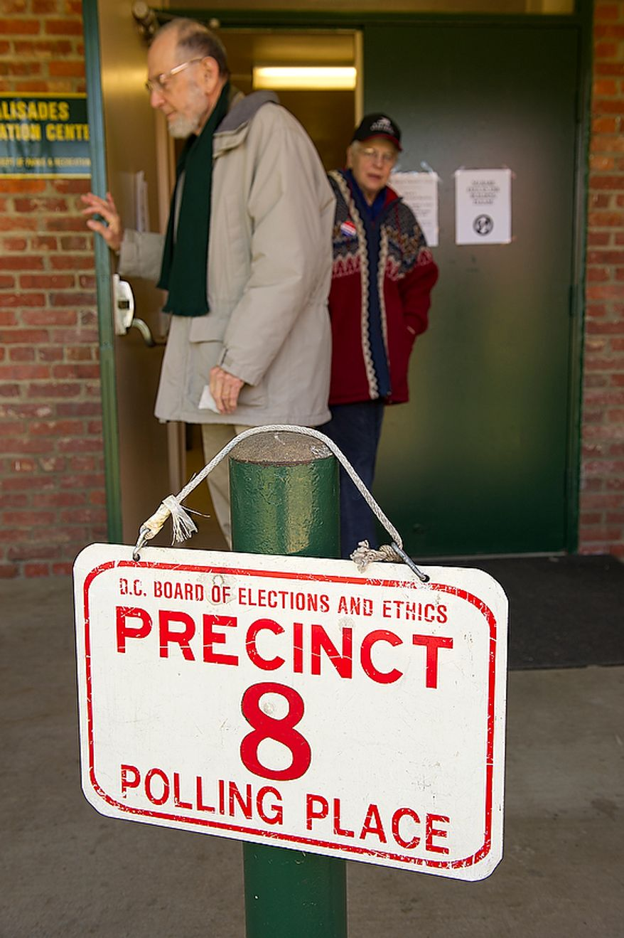 D.C. voters leave the Palisades Recreation Center in Washington after casting their ballots in the primary election on Tuesday, Feb. 3, 2012. The only real contested race in this ward was for an at-large council seat. Voter turnout was not huge, but there was a steady stream of voters coming in. (Barbara L. Salisbury/The Washington Times)