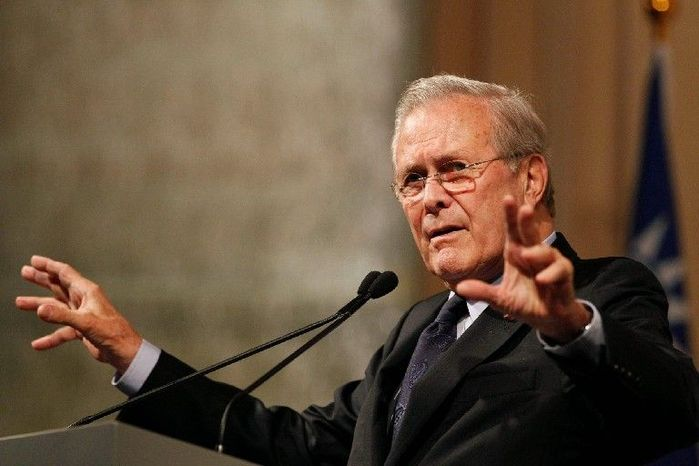 Former Secretary of Defense Donald H. Rumsfeld (above) will appear at a campaign fundraiser for an Iraq War veteran, Ilario Pantano (right), on April 16 at the Capitol Hill Club in Washington. Mr. Pantano, a Republican, is seeking a rematch against Rep. Mike McIntyre, an eight-term Democratic incumbent, in North Carolina's 7th Congressional District. The fundraiser is sponsored by the Afghanistan and Iraq Veterans for Congress. (Associated Press)