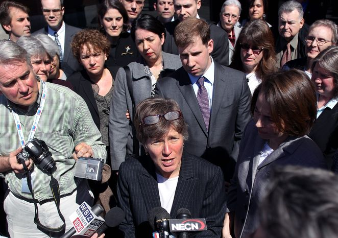 Mary Bonauto, an attorney for GLAD, addresses reporters Wednesday after a hearing at the 1st U.S. Circuit Court of Appeals in Boston. Lawyers for the gay group