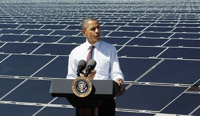In the U.S., the Obama administration has been a big advocate for solar energy, with Mr. Obama recently touring and speaking at Sempra's Copper Mountain Solar 1 facility in Boulder City, Nev. (Associated Press)