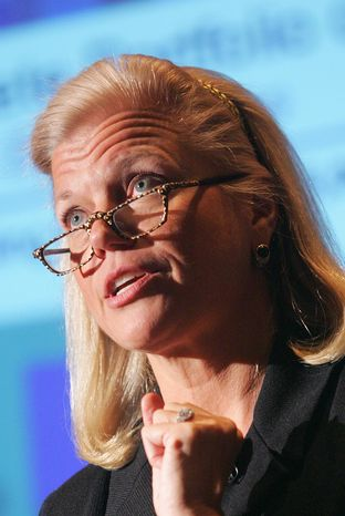 **FILE** IBM chief executive Virginia Rometty speaks in New York on Feb. 16, 2006, when she was the company's senior vice president. The appointment of Rometty in 2012 as CEO has revived the debate over Augusta National's all-male membership just one week before the Masters. The last four CEOs of IBM have been members of Augusta, but the club has never had a female member since it was founded in 1933. (Associated Press)