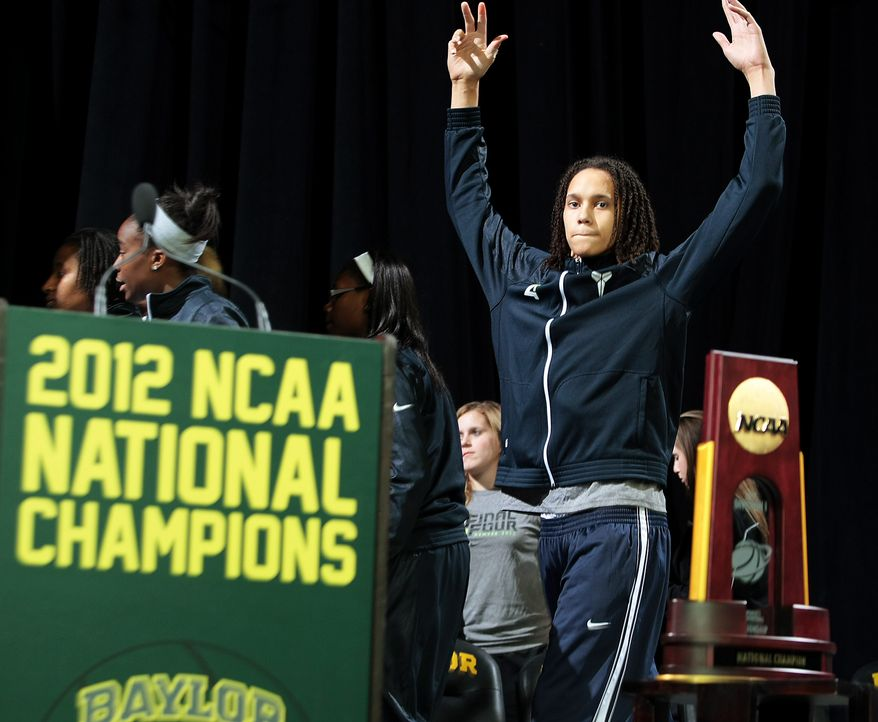 Baylor's Brittney Griner responds to the crowd following a welcome-home celebration for the national champion Baylor women's basketball team, Wednesday, April 4, 2012, in Waco, Texas. Baylor defeated Notre Dame 80-61 in the championship game on Tuesday, April 3, in Denver. (AP Photo/The Waco Tribune-Herald, Jerry Larson)