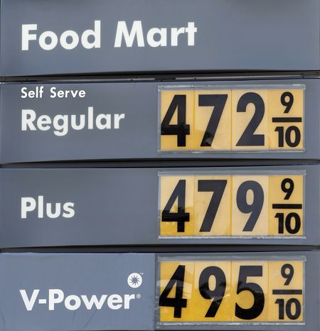 Gasoline prices are shown at a local gas station in Miami, Wednesday,
