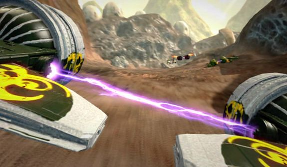 Podracing takes on new realism without a controller in the video game Kinect Star Wars.