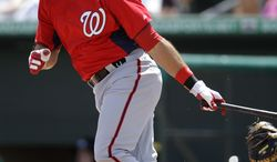 Nationals utility man Mark Derosa played in only 47 games last season due to a wrist injury, hitting .279 with no home runs and 12 RBI. (AP Photo/Patrick Semansky)