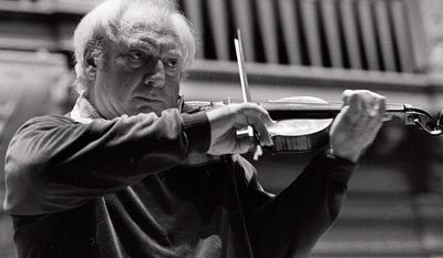 "Isaac Stern preferred his two Guarneris to a Stradivarius, his widow says, but considered his contemporary instruments made by New York's Samuel Zygmuntowicz to be of equal quality. ""He liked to see if people could tell the difference,"" she said. They usually couldn't. (Associated Press)"