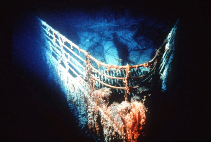 "The bow of the Titanic rests on the bottom of the North Atlantic, about 400 miles southeast of Newfoundland. April 15 is the 100th anniversary of the sinking of the ship, touted as ""unsinkable"" because of its safety features, on its maiden voyage. (Associated Press)"