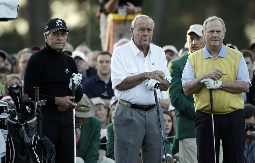 Honorary players Gary Player (left), Arnold Palmer (center) and Jack Nicklaus wait April 5, 2012, to tee off on the first hole before the first round of the Masters golf tournament in Augusta, Ga. (Associated Press)