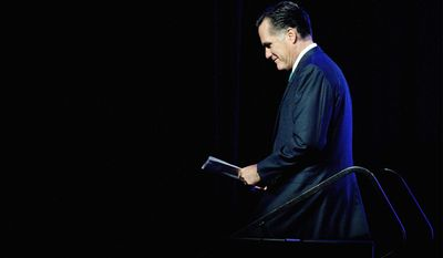 GOP presidential candidate Mitt Romney takes his turn speaking to the American Society of News Editors on Wednesday, a day after President Obama told his side of the story. (Associated Press)