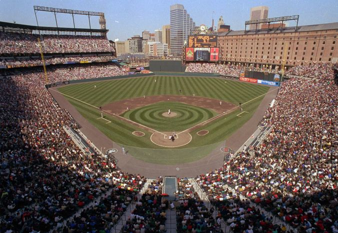 FILE - In this April 6, 1992, file photo, a general view from the upper level in the new Oriole Park at Camden Yards during opening day baseball game between the Cleveland Indians and Baltimore Orioles in Baltimore. The Orioles will celebrate mark the 20th anniversary of the inaugural opener at the Camden Yards on Friday, April 6, 2012, when they face the Minnesota Twins.(AP Photo/Ted Mathias, File)
