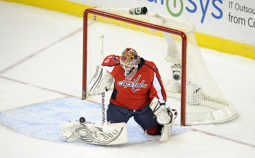With Tomas Vokoun and Michal Neuvirth injured, 22-year-old Braden Holtby will start the Washington Capitals' season finale against the New York Rangers on Saturday, and he'll likely be the team's go-to guy in the playoffs. (AP Photo/Nick Wass)