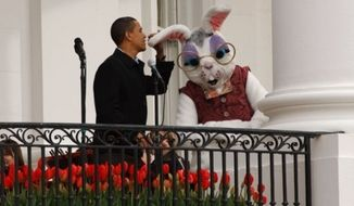 ** FILE ** President Obama chats with the Easter Bunny at the 2009 Easter Egg Roll. (Courtesy of the White House)
