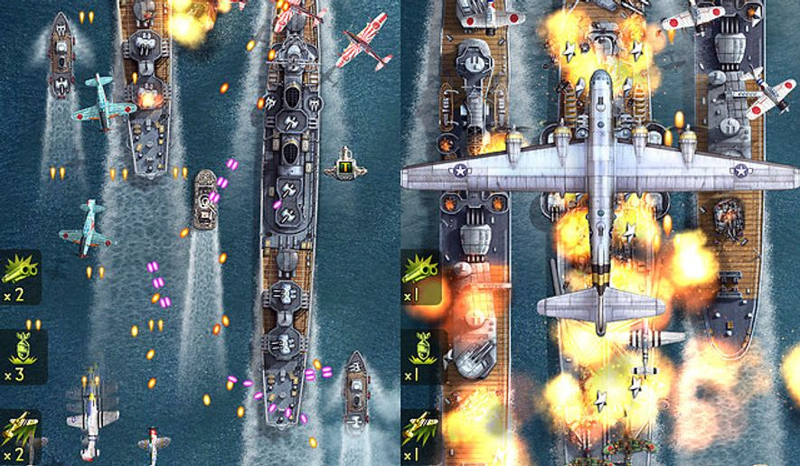 Two views of battle, including a bomber run, from the iPad game iFighter 2: The Pacific 1942.