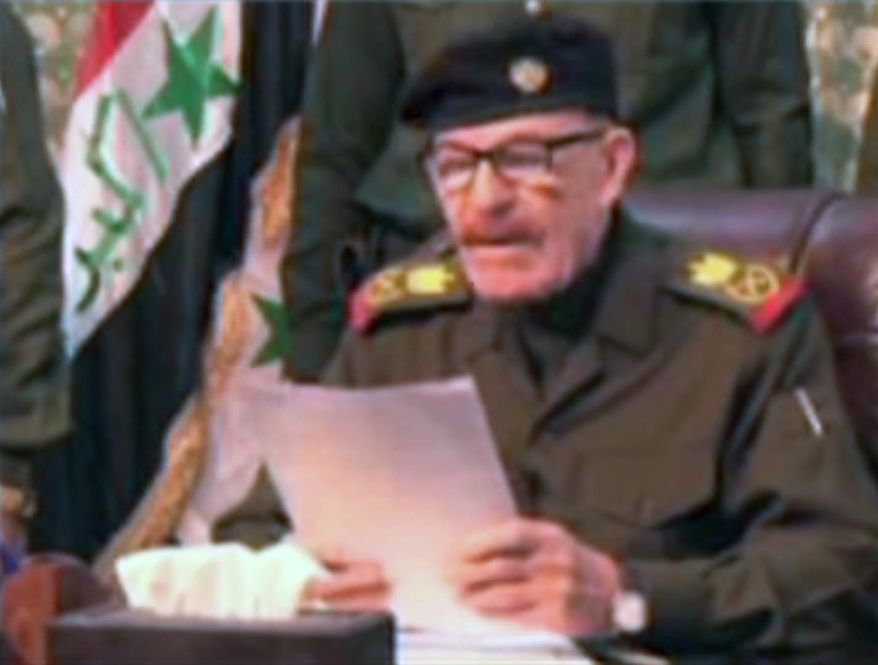 A video posted online Saturday, April 7, 2012, purports to show Izzat Ibrahim al-Douri, the highest ranking member of Saddam Hussein's ousted regime still at large, lashing out against Iraq's Shiite-led government. It was not possible to verify the authenticity of the video or determine when it was made. (AP Photo/AP Video)