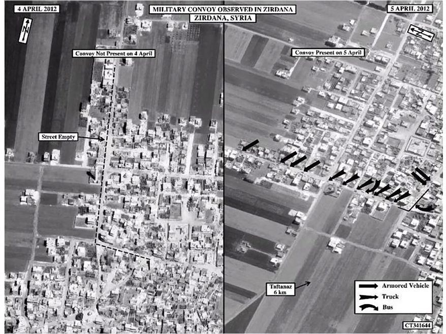 This satellite image from Saturday, April 7, 2012, shows the presence of a military convoy in Zirdana, Syria, on April 5, right, next to imagery of the same area on April 4, showing no military convoy, according to information shown on the U.S. Embassy Damascus Facebook page. (AP Photo/U.S. Embassy Damascus via Facebook)