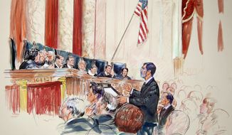 This artist rendering shows Deputy Solicitor General Edwin S. Kneedler speaking before the Supreme Court in Washington, Wednesday, March 28, 2012. Justices, from left are, Sonia Sotomayor, Stephen Breyer, Clarence Thomas, Antonin Scalia, Chief Justice John Roberts, Anthony Kennedy, Ruth Bader Ginsburg, Samuel Alito and Elena Kagan. (AP Photo/Dana Verkouteran)
