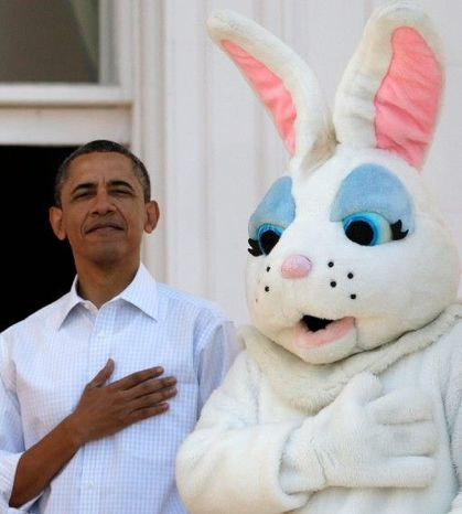 President Obama and the Easter Bunny stand for the National Anthem to kick off Monday's annual Easter Egg Roll at the White House. The president shot some hoops, did push-ups and read an &