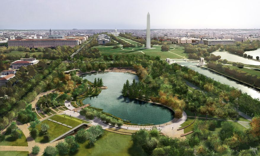 An undated artist's rendering from Nelson Byrd Woltz Landscape Architect & Paul Murdoch Architects shows a proposed design for Constitution Gardens, one of three underused and neglected areas of the National Mall in Washington, which architects and designers have been competing for the chance to renew. (AP Photo/Nelson Byrd Woltz Landscape Architect & Paul Murdoch Architects)
