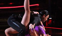 """In this April 2, 2012 photo released by ABC, actress Melissa Gilbert and her partner Maksim Chmerkovskiy perform on the celebrity dance competition series """"Dancing with the Stars,"""" in Los Angeles. (AP Photo/ABC, Adam Taylor)"""