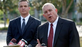 "Hal Uhrig (right) and Craig Sonner withdrew as defense attorneys for George Zimmerman, the man who claims self-defense in the fatal shooting of black teenager Trayvon Martin in Sanford, Fla. ""We're concerned for his emotional and physical safety,"" Mr. Uhrig said at a Tuesday news conference, saying that their client had cut off all contact and that he had left the state. (Associated Press)"