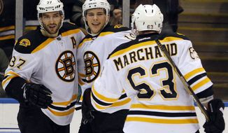 Boston Bruins' Patrice Bergeron (37), Tyler Seguin (19) and Brad Marchand (63) figure to be just a few of the forwards who could give the Washington Capitals fits in their first-round series that begins Thursday, April 12, 2011. (AP Photo/Paul J. Bereswill)