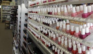 Nail care products are displayed at a beauty supply shop in San Francisco on Monday, April 9, 2012. (AP Photo/Marcio Jose Sanchez)