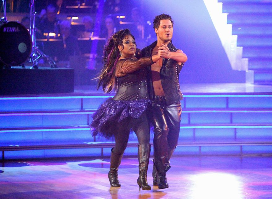 "Sherri Shepherd and Val Chmerkovskiy perform Monday on ""Dancing With the Stars."" Miss Shepherd, a co-host on ""The View,"" was eliminated Tuesday from the ABC reality competition. (ABC via Associated Press)"