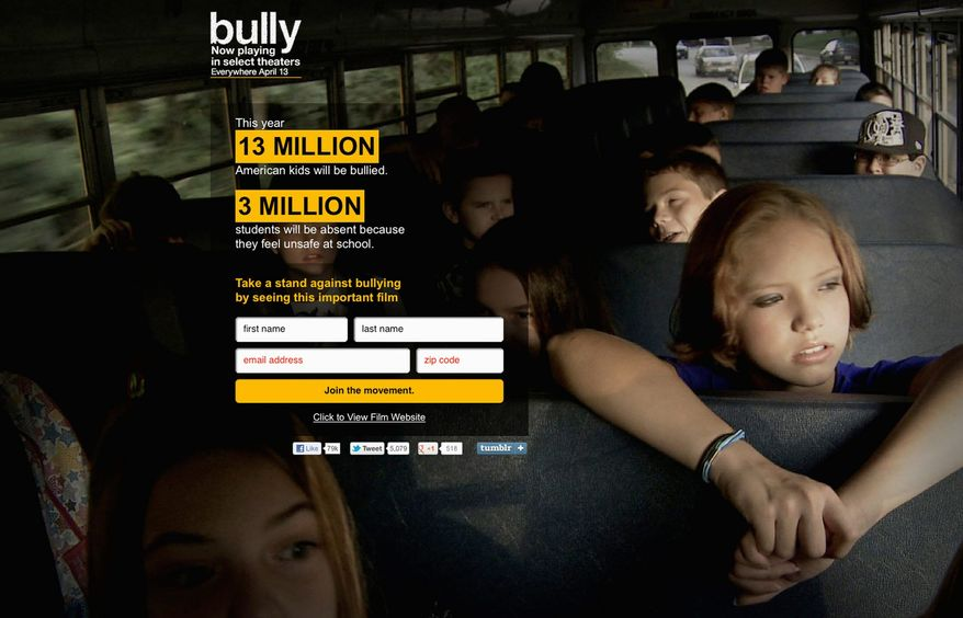 """""""Bully"""" has inspired a movement called the """"Bully Project"""" which tries to spread the word about the dangers of bullying through rallies and educational outreach. (action.thebullyproject.com)"""