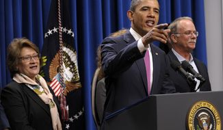 """President Obama speaks April 11, 2012, about the so-called """"Buffett rule"""" at the White House. (Associated Press)"""