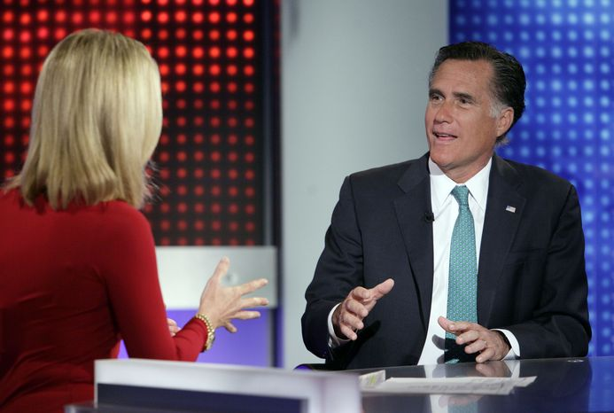 "Republican presidential candidate, former Massachusetts Gov. Mitt Romney is interviewed by Martha MacCallum, co-anchor of ""America's Newsroom"" on the Fox News Channel in New York, Wednesday, April 11, 2012. On Tuesday, Romney made clear that he would assault Obama's character as well, saying the president is not inept at economic policy, but he actively dislikes business. (AP Photo/"