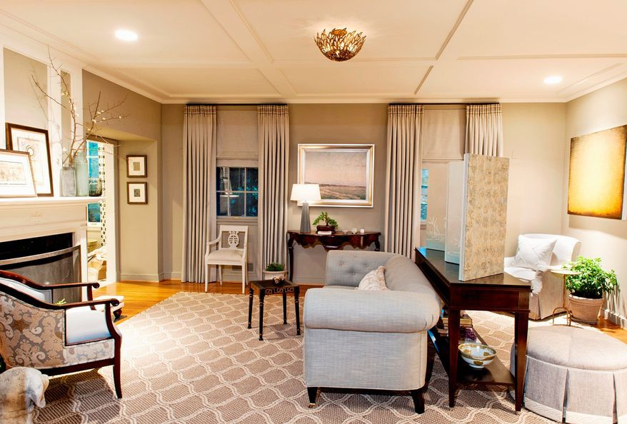 Designer Annette Hannon transformed a bland parlor in the DC Design House by adding architectural details.