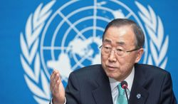 United Nations Secretary-General Ban Ki-moon speaks about the situation in Syria during a news conference Thursday at the European headquarters of the United Nations in Geneva. (Associated Press)
