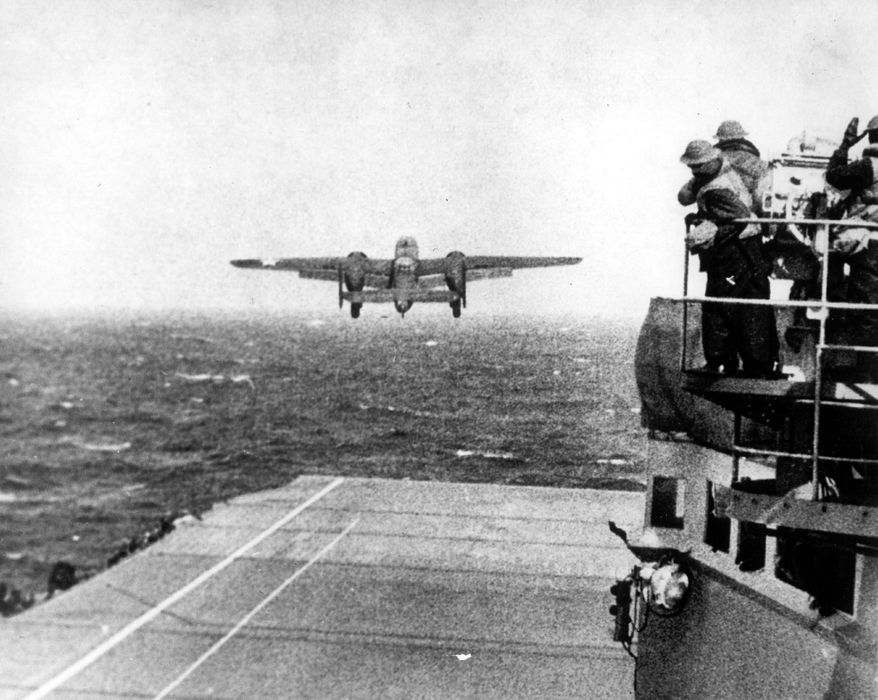 A B-25 bomber takes off from the flight deck of the USS Hornet. Doolittle launched the raid 10 hours earlier and about 200 miles farther away than planned after being spotted by Japanese scout ships. (Associated Press)