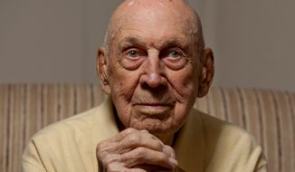 """Richard E. Cole, then 96 is this file photo, is among the five remaining men of the 79 who flew with then-Lt. Col. James H. """"Jimmy"""" Doolittle on his historic bombing mission over Japan on April 19, 1942. (Andrew S. Geraci/The Washington Times)"""