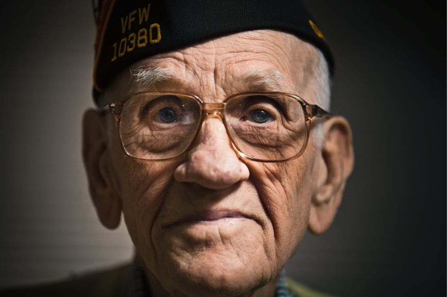 """Thomas Griffin, 95, is among the five remaining men of the 79 who flew with then-Lt. Col. James H. """"Jimmy"""" Doolittle on his historic bombing mission over Japan on April 19, 1942. (Andrew S. Geraci/The Washington Times)"""