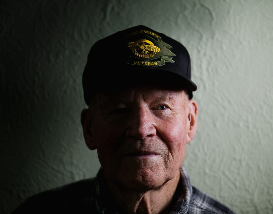 """David Thatcher, 90, is among the five remaining men of the 79 who flew with then-Lt. Col. James H. """"Jimmy"""" Doolittle on his historic bombing mission over Japan on April 19, 1942. (Andrew S. Geraci/The Washington Times)"""