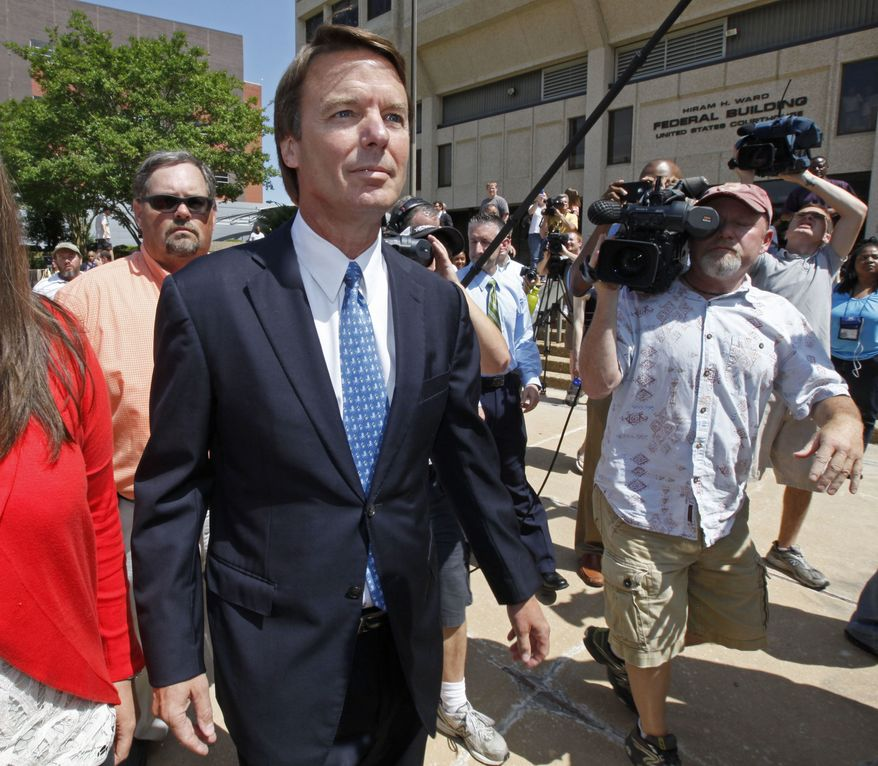 ** FILE ** In this June 3, 2011, file photo, John Edwards leaves the Federal Building in Winston-Salem, N.C. After years of investigation, denials and delays, jury selection is set to begin Thursday, April 12, 2012, for the criminal trial of the former presidential candidate in Greensboro, N.C. (AP Photo/Chuck Burton, File)