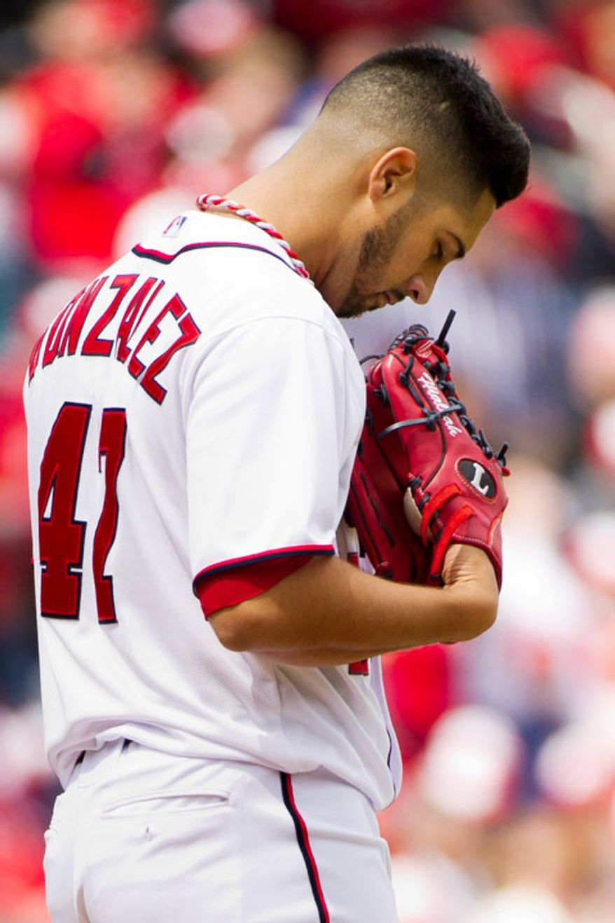 Washington Nationals starting pitcher Gio Gonzalez (47) takes a moment on the mound before throwing out the first pitch. (Andrew Harnik/The Washington Times)