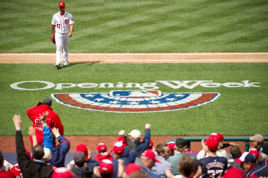 Washington Nationals starting pitcher Gio Gonzalez (47) walks back to the dugout after the fifth inning. (Andrew Harnik/The Washington Times)