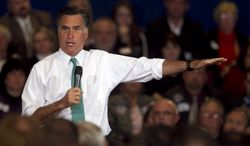Republican presidential candidate and former Massachusetts Gov. Mitt Romney speaks to a crowd April 11, 2012, during a campaign event in Warwick, R.I. (Associated Press)