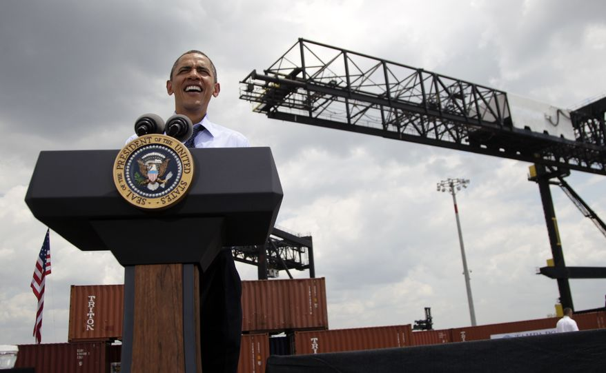 President Obama speaks April 13, 2012, at the Port of Tampa in Tampa, Fla., about trade with Latin America before heading to Colombia for the Summit of the Americas. (Associated Press)