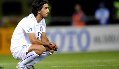 FILE - Italian player Piermario Morosini reacts after losing in the Italy vs Germany semifinal match in the Euro U21 soccer championships at the Olympia Arena in Helsingborg, Sweden, in this Friday June 26, 2009 file photo. The Italian football federation has called off all league games this weekend after the death of Morosini, who was currently playing for Livorno, during a Serie B match against Pescara, in Pescara, central Italy, Saturday, April 14, 2012. (AP Photo /Pontus Lundahl / SCANPIX, File )