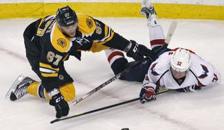 Washington Capitals defenseman Mike Green (right) tries to get a stick on the puck after being dropped to the ice by Boston Bruins left wing Benoit Pouliot during the third period of the Capitals' 2-1 victory in Game 2 of their first-round playoff series in Boston on April 14, 2012. (Associated Press)
