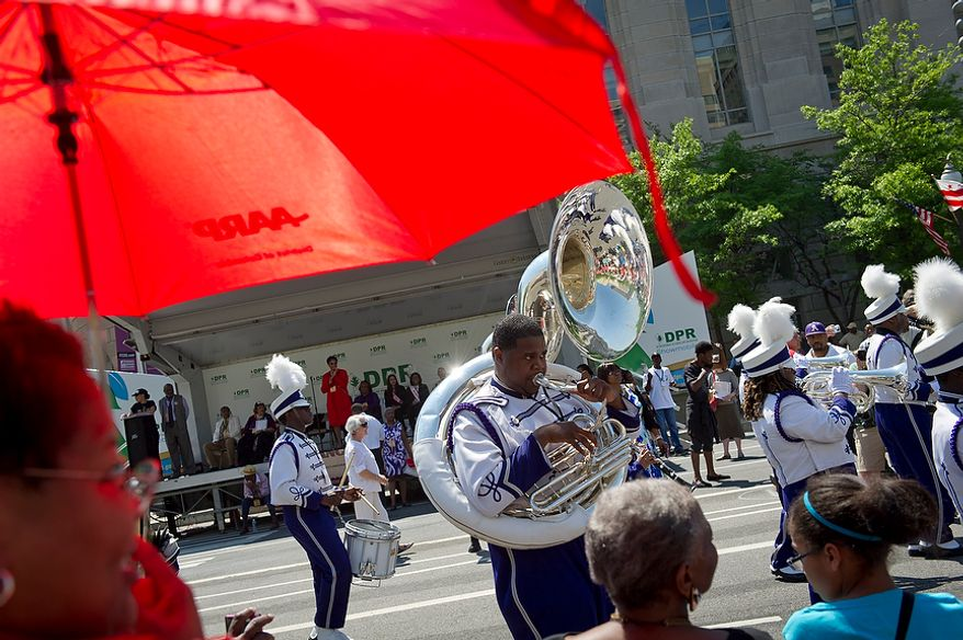 The Arkansas Baptist College Marching Band, from Little Rock, Ark., nears the end of the parade route during the District of Columbia Emancipation Day 2012 parade in Washington, D.C., Monday, April 16, 2012., celebrating the150th anniversary of the District of Columbia Emancipation Act. 150 ears ago, on April 16, 1862, President Abraham Lincoln signed a bill ending slavery in the District of Columbia. Passage of this law came 8 1/2 months before President Lincoln signed his Emancipation Proclamation. (Rod Lamkey Jr/The Washington Times)