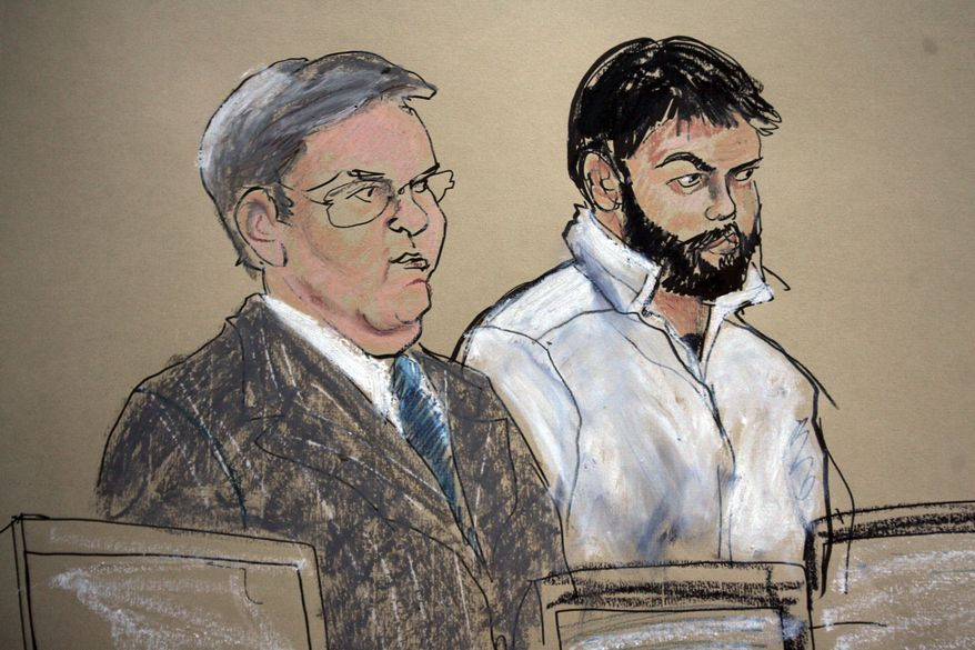 **FILE** This Jan. 8, 2010, courtroom file sketch shows Zarein Ahmedzay (right) with his attorney Michael Marinaccio during his arraignment at the Brooklyn Federal Courthouse in New York. Ahmedzay and two former high school classmates are accused of plotting to bomb subways in New York City. (Associated Press)