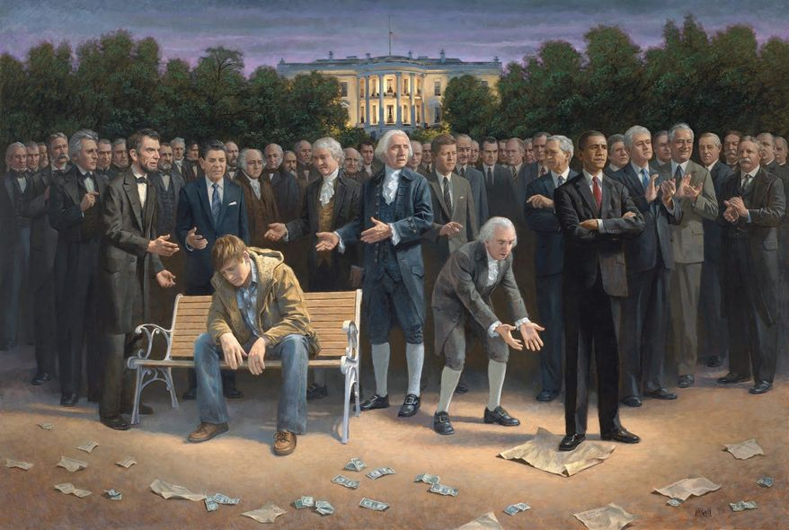 "Jon McNaughton created a YouTube video to explain the meaning behind ""The Forgotten Man."" In grouping former presidents, he focused on their adherence to the Constitution rather than their party, putting George W. Bush with FDR and Bill Clinton. (Jon McNaughton)"