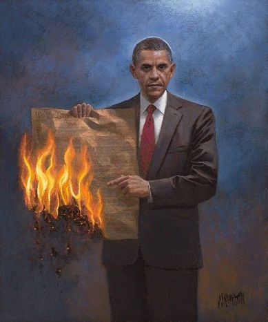 """Jon McNaughton's """"One Nation Under Socialism"""" provokes love-it-or-hate-it reactions, as does much of his art. Sean Hannity bought it and interviewed Mr. McNaughton on Fox News. MSNBC's Rachel Maddow invited her blog readers to provide comic captions for it. (Jon McNaughton)"""
