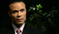 Dan Bongino, a former Secret Service agent who is a Republican candidate for the U.S. Senate in Maryland, speaks during an interview with the Associated Press on Tuesday, April 17, 2012, in New York. (AP Photo/Peter Morgan)